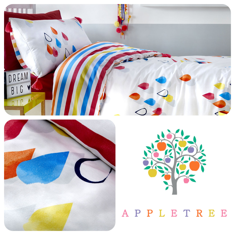 Appletree RAINBOW POM Multicolour Girls 100/% Cotton Duvet Cover Set