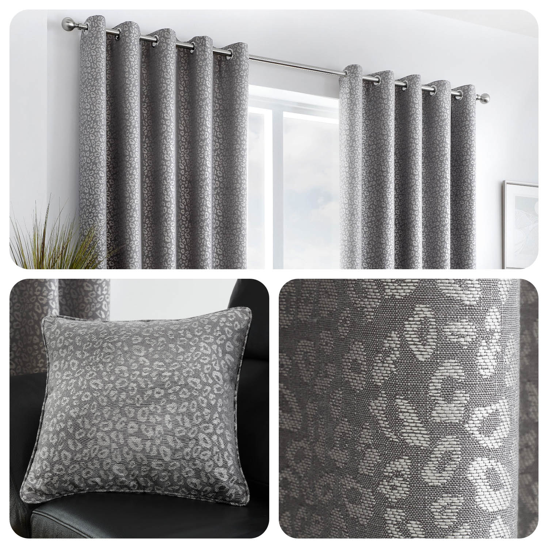 Curtina CAMBERWELL Graphite Grey Geometric Jacquard Eyelet Curtains /& Cushions