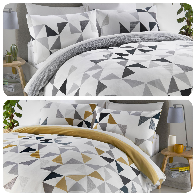 Fusion Hendra Geometric Stripe Duvet Cover Bedding Set Ochre Grey Reversible Ebay
